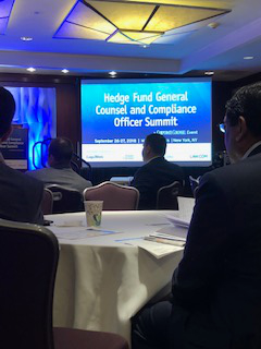 Sponsoring and attending Hedge Fund Global Compliance Conference in New Yor
