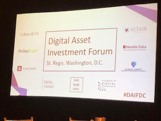 Sponsoring and attending Digital Asset Investment Forum in Washington DC